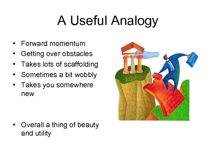 A Useful Analogy • • • Forward momentum Getting over obstacles Takes lots of