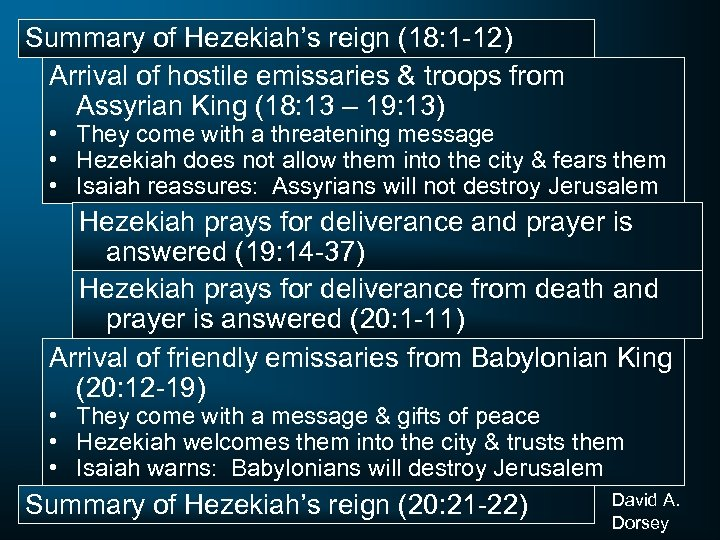 Summary of Hezekiah's reign (18: 1 -12) Arrival of hostile emissaries & troops from