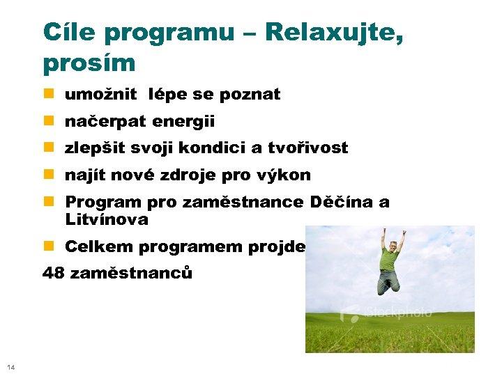 Cíle programu – Relaxujte, prosím n umožnit lépe se poznat n načerpat energii n