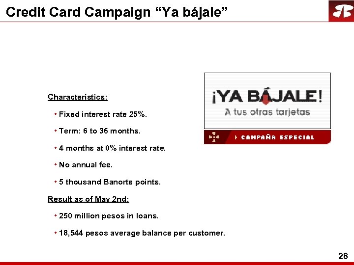 "Credit Card Campaign ""Ya bájale"" Characterístics: • Fixed interest rate 25%. • Term: 6"