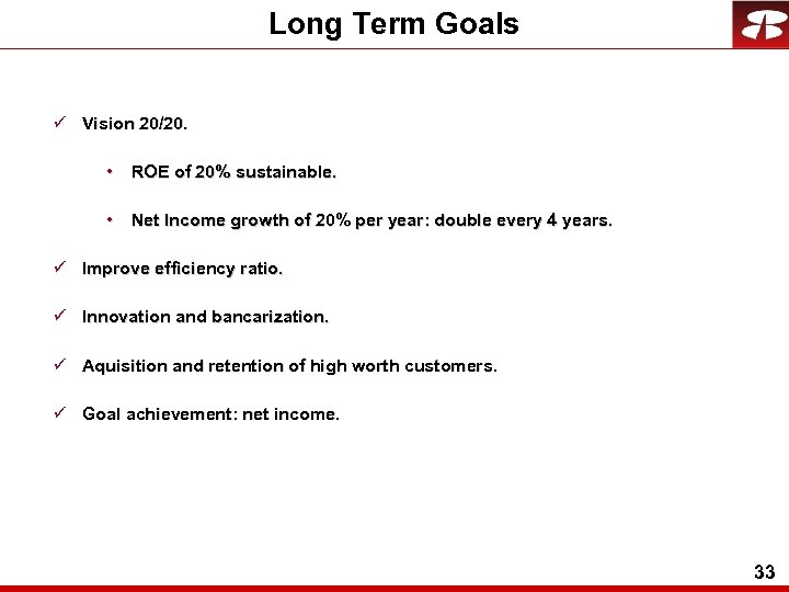 Long Term Goals ü Vision 20/20. • ROE of 20% sustainable. • Net Income