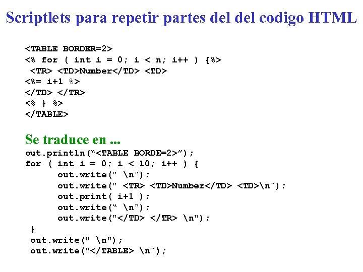 Scriptlets para repetir partes del codigo HTML <TABLE BORDER=2> <% for ( int i