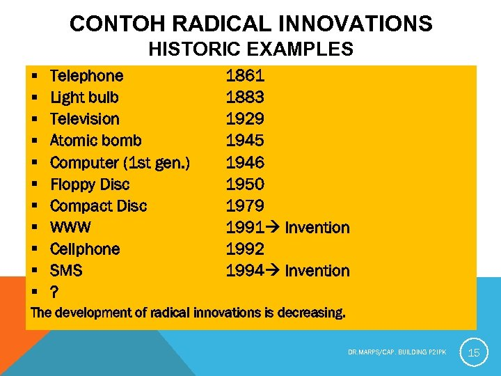 CONTOH RADICAL INNOVATIONS HISTORIC EXAMPLES § § § Telephone Light bulb Television Atomic bomb