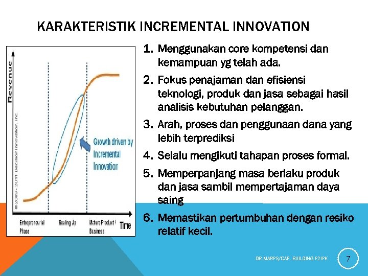 KARAKTERISTIK INCREMENTAL INNOVATION 1. Menggunakan core kompetensi dan kemampuan yg telah ada. 2. Fokus