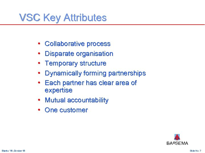 VSC Key Attributes • • • Collaborative process Disparate organisation Temporary structure Dynamically forming