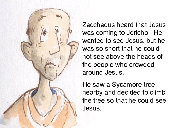 Zacchaeus heard that Jesus was coming to Jericho. He wanted to see Jesus, but