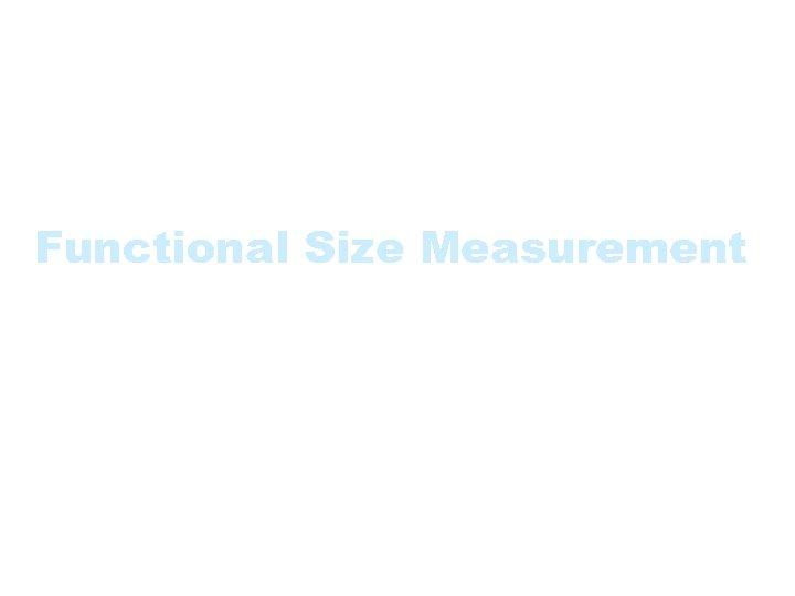 Functional Size Measurement Methodologies