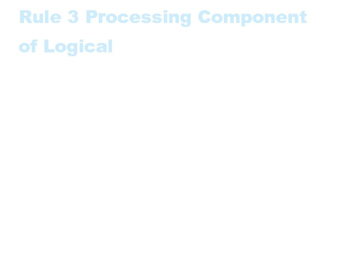 Rule 3 Processing Component of Logical • The processing component of a Logical Transaction