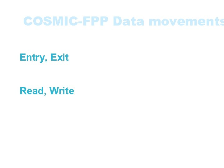 COSMIC-FPP Data movements • Four types of data movements: • Entry, Exit movements -