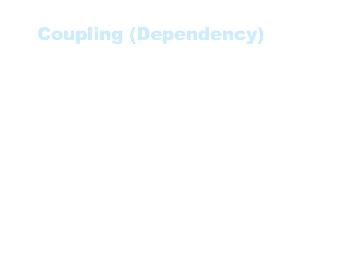 Coupling (Dependency) • The degree to which each program module relies on each other