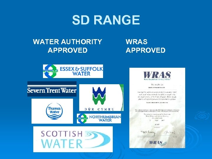 SD RANGE WATER AUTHORITY APPROVED WRAS APPROVED
