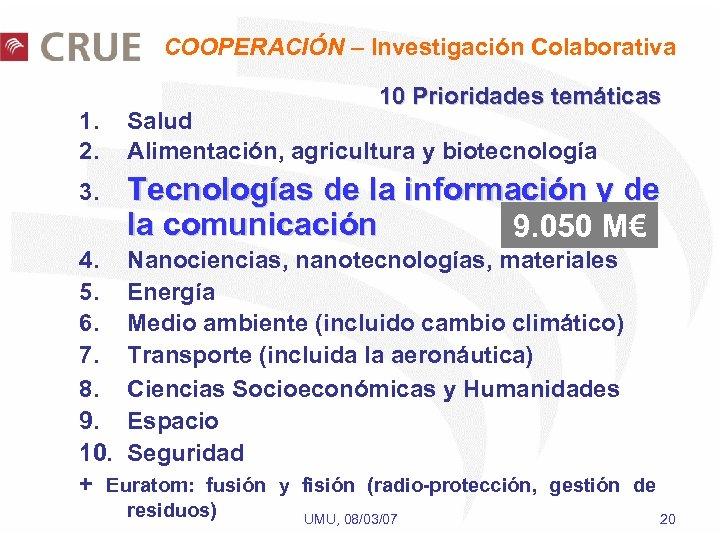 COOPERACIÓN – Investigación Colaborativa 10 Prioridades temáticas 1. 2. Salud Alimentación, agricultura y biotecnología