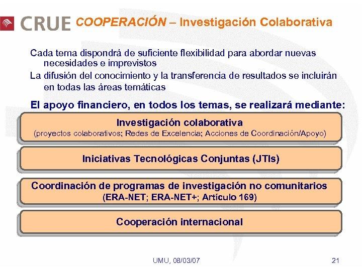 COOPERACIÓN – Investigación Colaborativa Cada tema dispondrá de suficiente flexibilidad para abordar nuevas necesidades