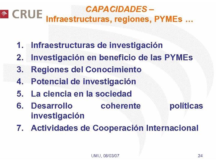 CAPACIDADES – Infraestructuras, regiones, PYMEs … 1. 2. 3. 4. 5. 6. Infraestructuras de