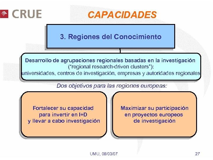 """CAPACIDADES 3. Regiones del Conocimiento Desarrollo de agrupaciones regionales basadas en la investigación (""""regional"""