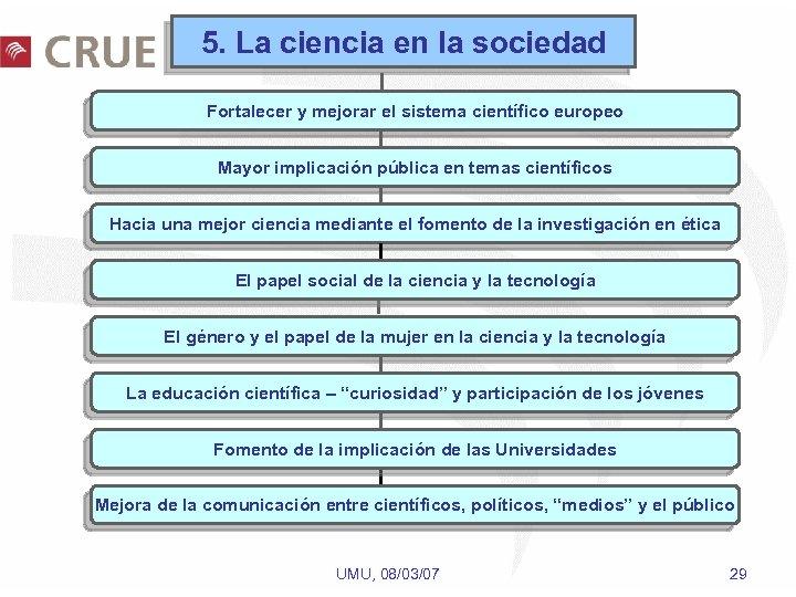 5. La ciencia en la sociedad Fortalecer y mejorar el sistema científico europeo Mayor