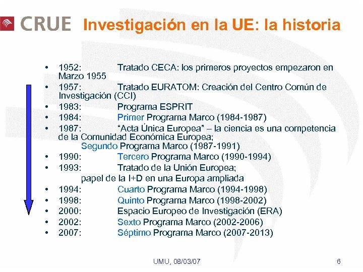 Investigación en la UE: la historia • • • 1952: Tratado CECA: los primeros