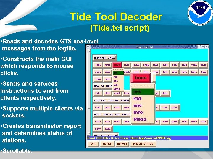 Tide Tool Decoder (Tide. tcl script) • Reads and decodes GTS sea-level messages from