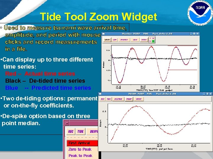 Tide Tool Zoom Widget • Used to measure tsunami wave arrival time, amplitude, and