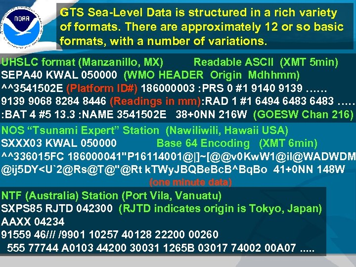 GTS Sea-Level Data is structured in a rich variety of formats. There approximately 12