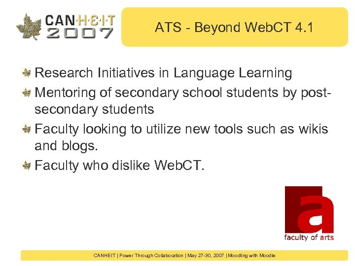ATS - Beyond Web. CT 4. 1 Research Initiatives in Language Learning Mentoring of