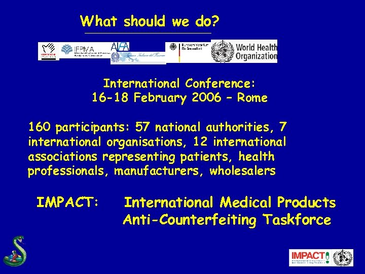 What should we do? International Conference: 16 -18 February 2006 – Rome 160 participants: