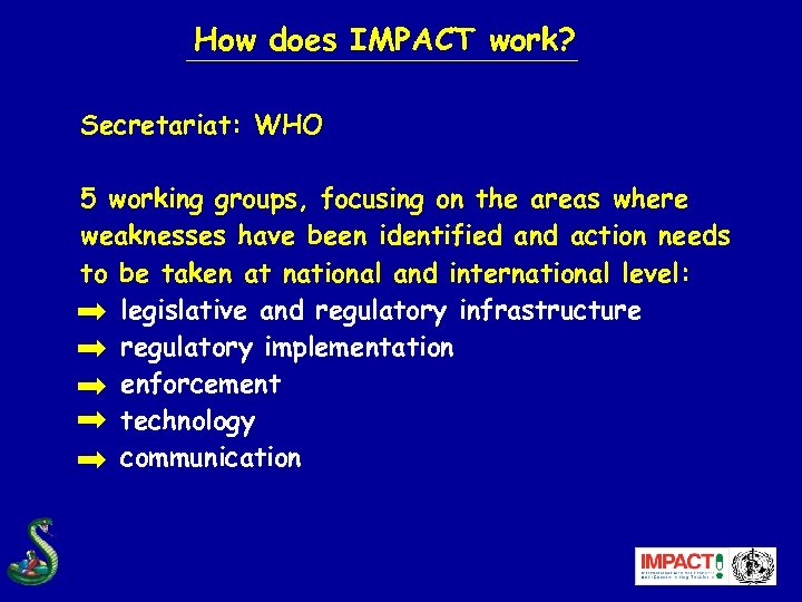 How does IMPACT work? Secretariat: WHO 5 working groups, focusing on the areas where