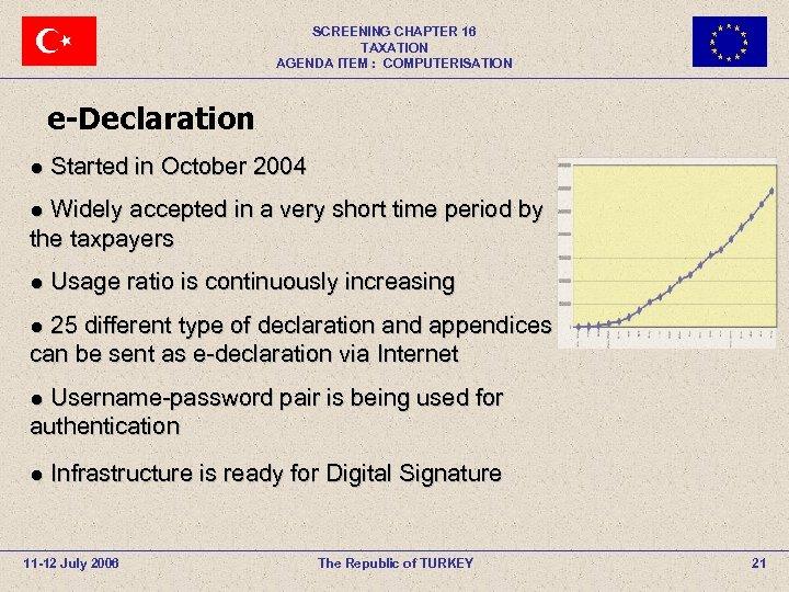 SCREENING CHAPTER 16 TAXATION AGENDA ITEM : COMPUTERISATION e-Declaration ● Started in October 2004