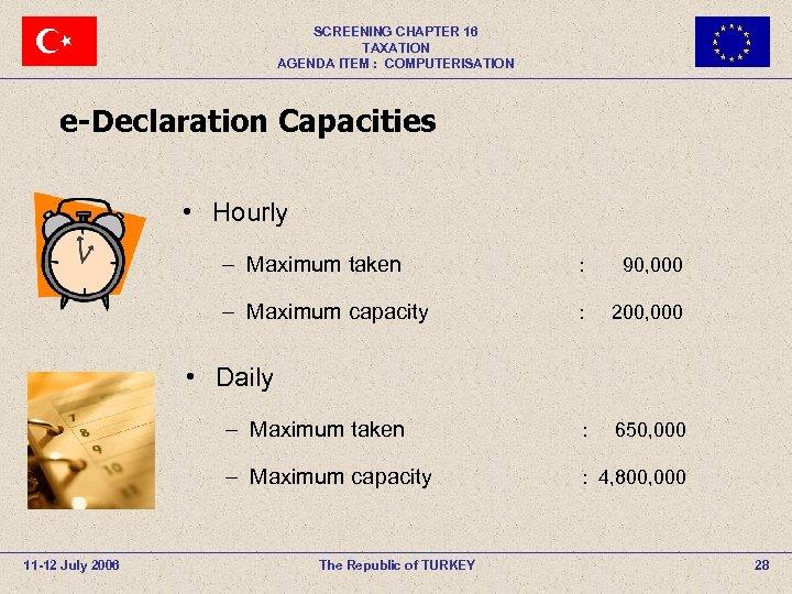 SCREENING CHAPTER 16 TAXATION AGENDA ITEM : COMPUTERISATION e-Declaration Capacities • Hourly – Maximum