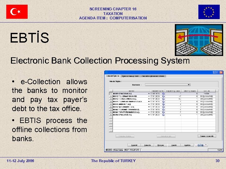SCREENING CHAPTER 16 TAXATION AGENDA ITEM : COMPUTERISATION EBTİS Electronic Bank Collection Processing System