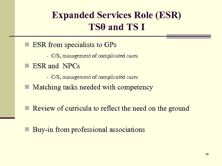 Expanded Services Role (ESR) TS 0 and TS I n ESR from specialists to