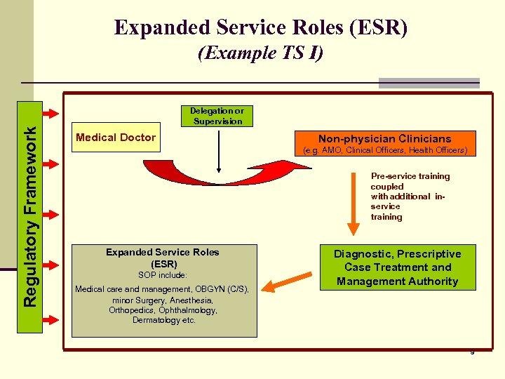 Expanded Service Roles (ESR) Regulatory Framework (Example TS I) Delegation or Supervision Medical Doctor