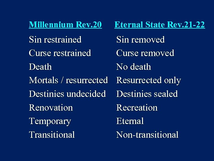 Millennium Rev. 20 Eternal State Rev. 21 -22 Sin restrained Curse restrained Death Mortals