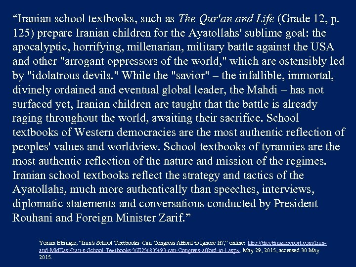 """Iranian school textbooks, such as The Qur'an and Life (Grade 12, p. 125) prepare"