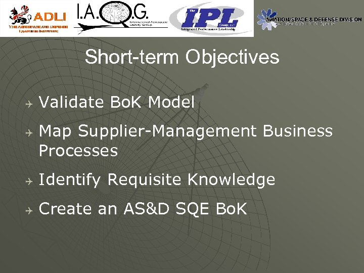 Short-term Objectives Q Q Validate Bo. K Model Map Supplier-Management Business Processes Q Identify