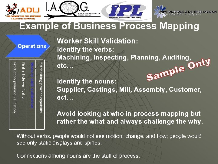 Example of Business Process Mapping Operations Worker Skill Validation: Establishing process capability Worker skill