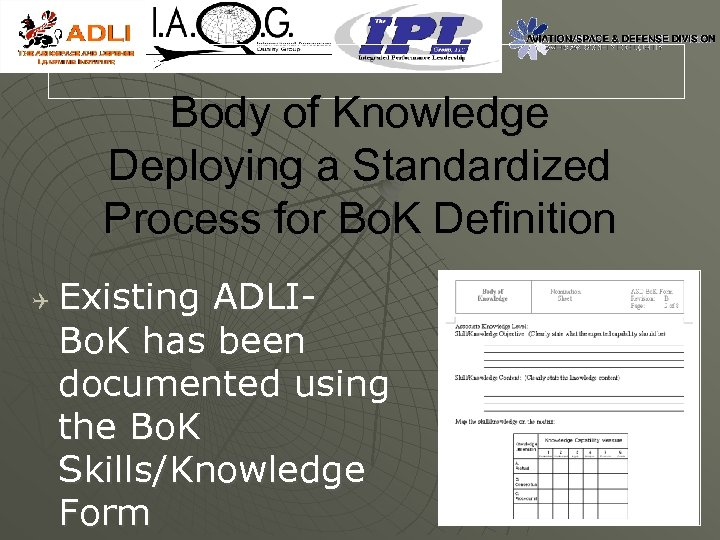 Body of Knowledge Deploying a Standardized Process for Bo. K Definition Q Existing ADLIBo.