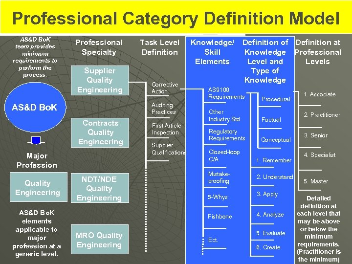 Professional Category Definition Model AS&D Bo. K team provides minimum requirements to perform the