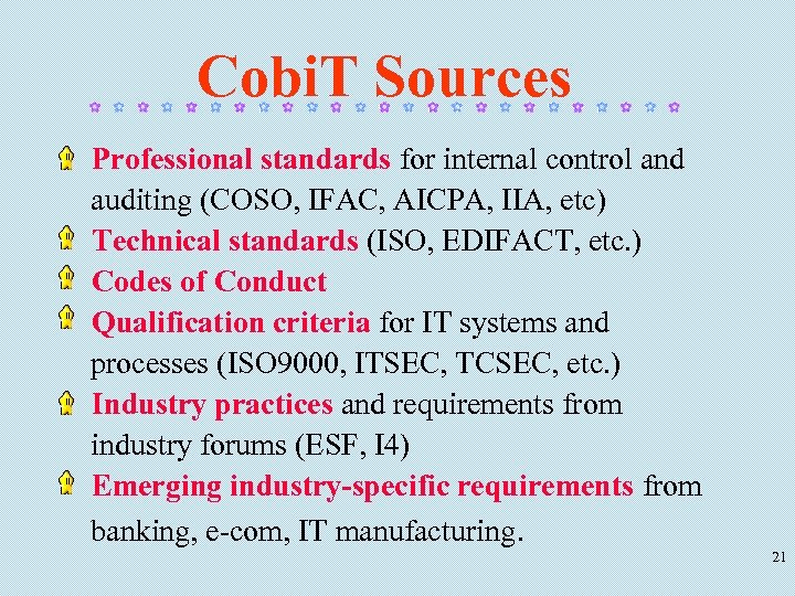 Cobi. T Sources Professional standards for internal control and auditing (COSO, IFAC, AICPA, IIA,