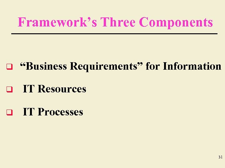 """Framework's Three Components q """"Business Requirements"""" for Information q IT Resources q IT Processes"""