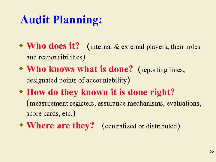 Audit Planning: w Who does it? (internal & external players, their roles and responsibilities)