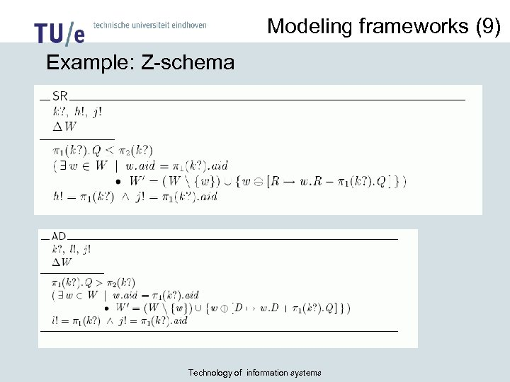 Modeling frameworks (9) Example: Z-schema Inventory CS: Z-schemata II Technology of information systems