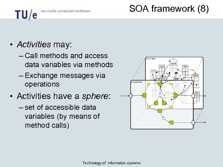 SOA framework (8) • Activities may: – Call methods and access data variables via