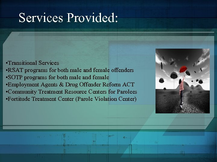 Services Provided: • Transitional Services • RSAT programs for both male and female offenders