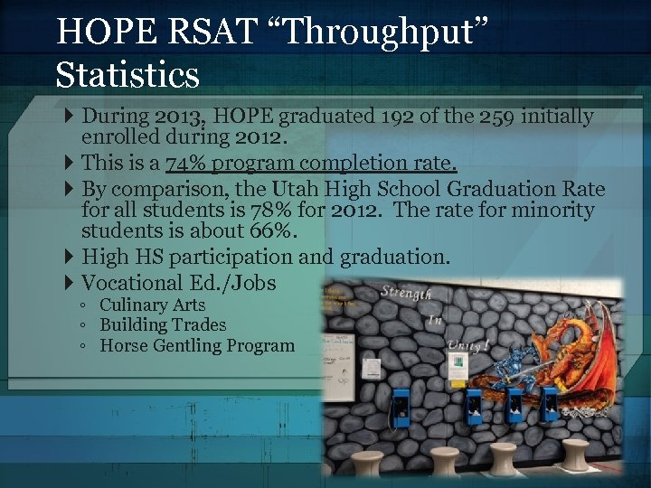 "HOPE RSAT ""Throughput"" Statistics During 2013, HOPE graduated 192 of the 259 initially enrolled"