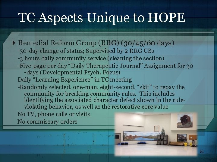 TC Aspects Unique to HOPE Remedial Reform Group (RRG) (30/45/60 days) -30 -day change