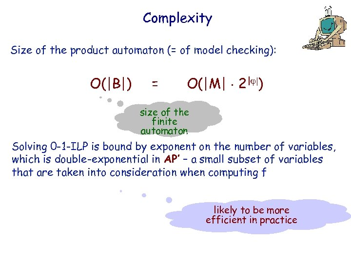 Complexity IBM HRL Size of the product automaton (= of model checking): O(|B|) =