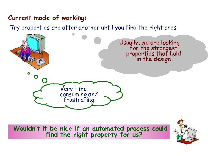 IBM HRL Current mode of working: Try properties one after another until you find