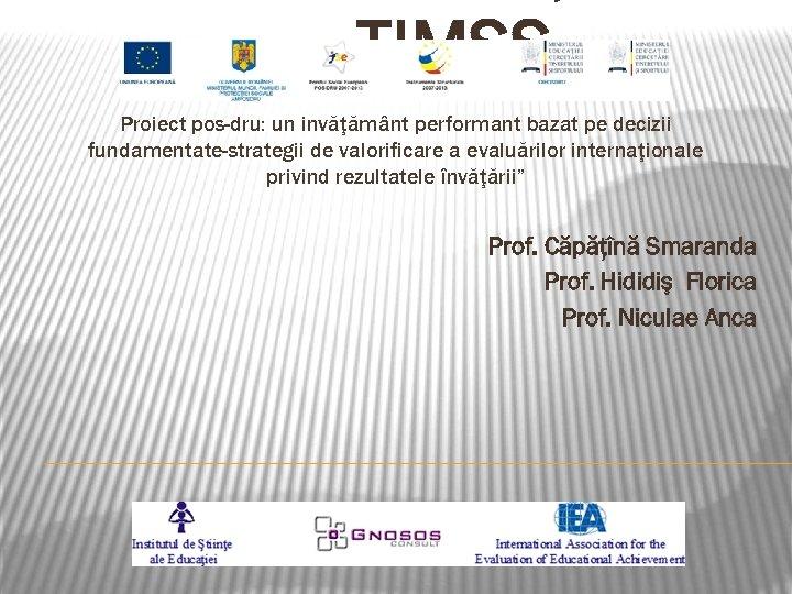– TIMSS Proiect pos-dru: un invăţământ performant bazat pe decizii fundamentate-strategii de valorificare a