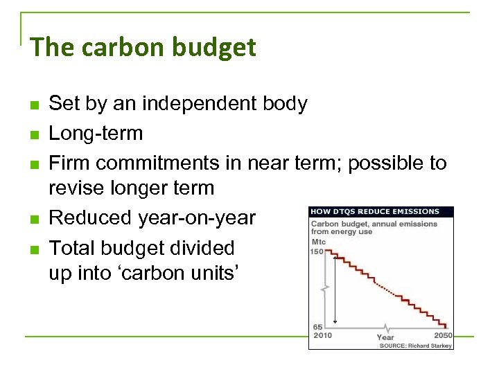 The carbon budget n n n Set by an independent body Long-term Firm commitments